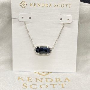New Kendra Scott Silver Elisa Black Opaque Glass